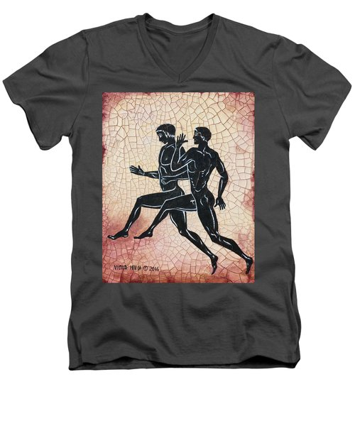 The Runners Men's V-Neck T-Shirt by Victor Minca