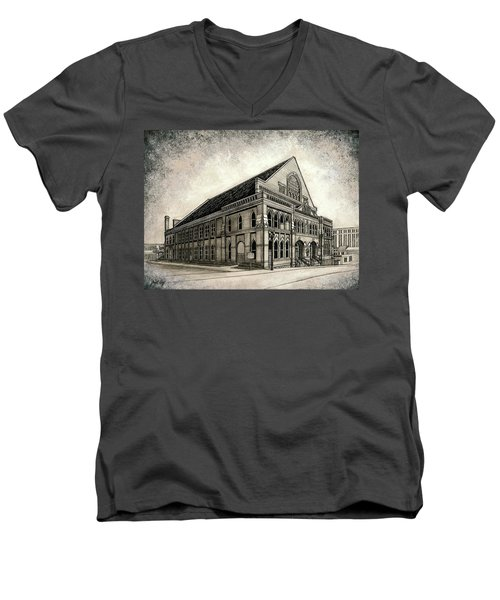 Men's V-Neck T-Shirt featuring the painting The Ryman by Janet King