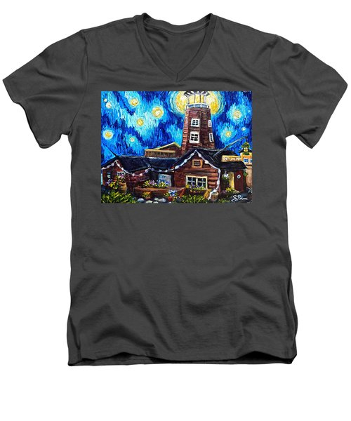 The Salty Dog Saloon Men's V-Neck T-Shirt by Sebastian Pierre