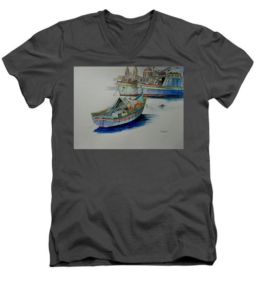 Men's V-Neck T-Shirt featuring the painting The San George by Ray Agius