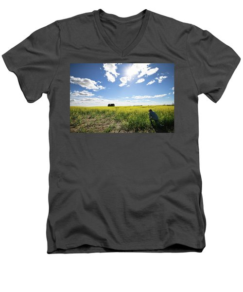 Men's V-Neck T-Shirt featuring the photograph The Saskatchewan Prairies by Ryan Crouse