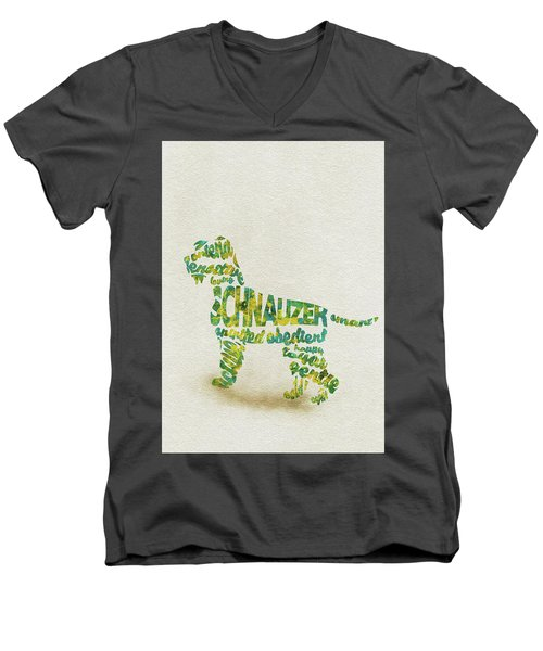 The Schnauzer Dog Watercolor Painting / Typographic Art Men's V-Neck T-Shirt