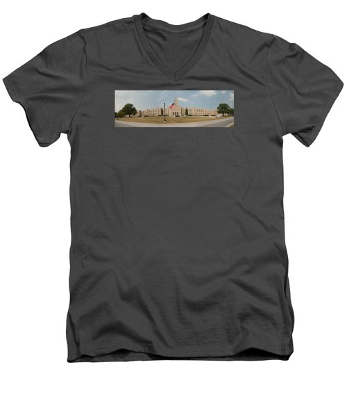 Men's V-Neck T-Shirt featuring the photograph The School On The Hill Panorama by Mark Dodd