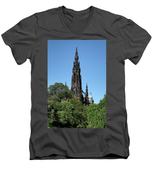 Men's V-Neck T-Shirt featuring the photograph The Scott Monument In Edinburgh, Scotland by Jeremy Lavender Photography