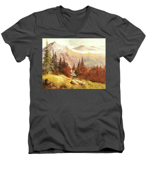 Men's V-Neck T-Shirt featuring the painting The Scout by Alan Lakin