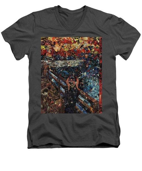 The Scream After Edvard Munch Men's V-Neck T-Shirt by Joshua Redman