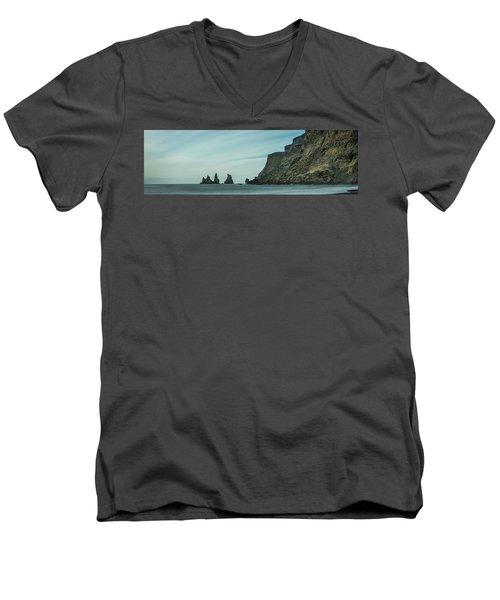 The Sea Stacks Of Vik, Iceland Men's V-Neck T-Shirt