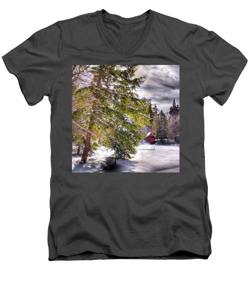 Men's V-Neck T-Shirt featuring the photograph The Secluded Boathouse by David Patterson