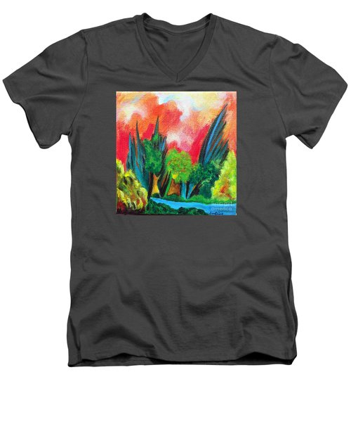The Secret Stream Men's V-Neck T-Shirt by Elizabeth Fontaine-Barr