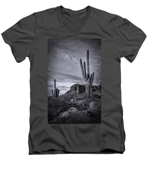 Men's V-Neck T-Shirt featuring the photograph The Sentinels Of The Supes In Black And White  by Saija Lehtonen