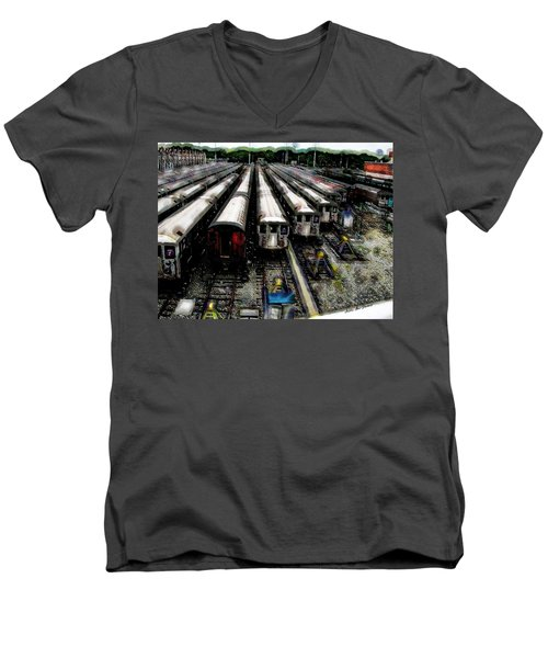The Seven Train Yard Queens Ny Men's V-Neck T-Shirt by Iowan Stone-Flowers