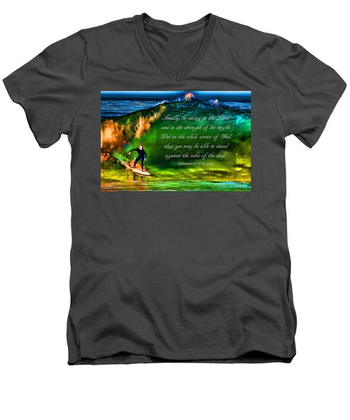 Men's V-Neck T-Shirt featuring the photograph The Shadow Within With Bible Verse by John A Rodriguez
