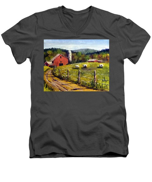 The Sheep Farm Men's V-Neck T-Shirt by Jim Phillips