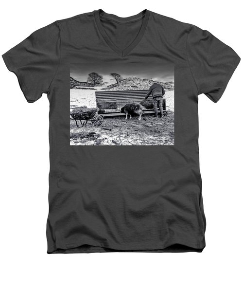 Men's V-Neck T-Shirt featuring the photograph The Shepherd by Keith Elliott