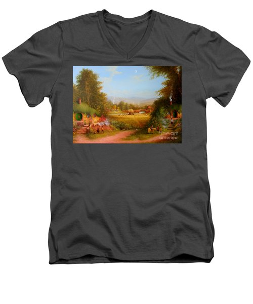 The Shire. Men's V-Neck T-Shirt by Joe  Gilronan