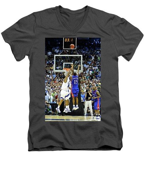 The Shot, 3.1 Seconds, Mario Chalmers Magic, Kansas Basketball 2008 Ncaa Championship Men's V-Neck T-Shirt by Thomas Pollart