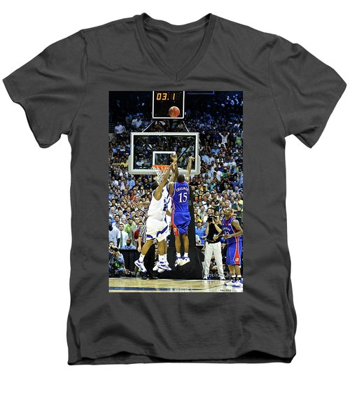 The Shot, 3.1 Seconds, Mario Chalmers Magic, Kansas Basketball 2008 Ncaa Championship Men's V-Neck T-Shirt