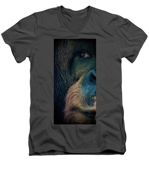 The Shy Orangutan Men's V-Neck T-Shirt by Martin Newman