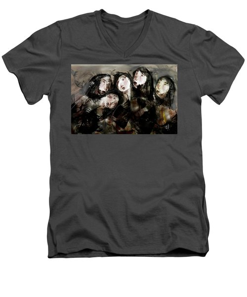 Men's V-Neck T-Shirt featuring the painting The Sisterhood by Jim Vance