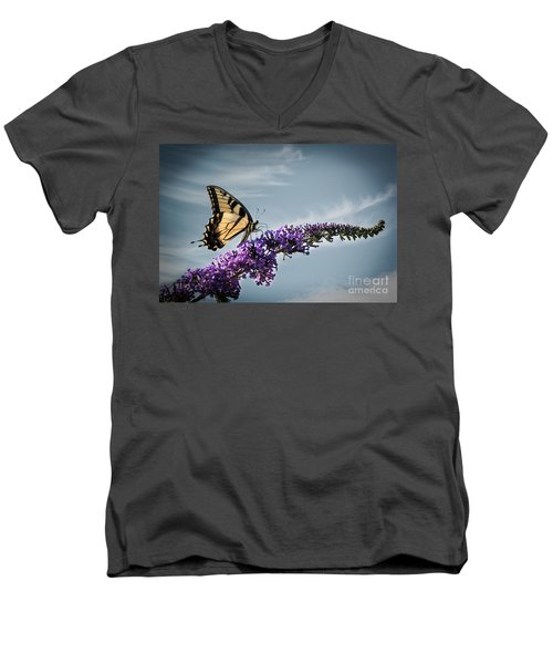Men's V-Neck T-Shirt featuring the photograph The Sky Is The Limit by Judy Wolinsky