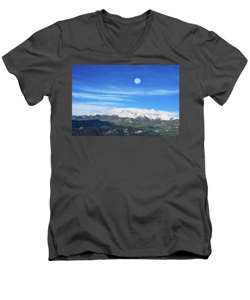The Skyscraper That Towers Over My Hometown Reaches The Clouds At 14115 Feet Above Sea Level.  Men's V-Neck T-Shirt