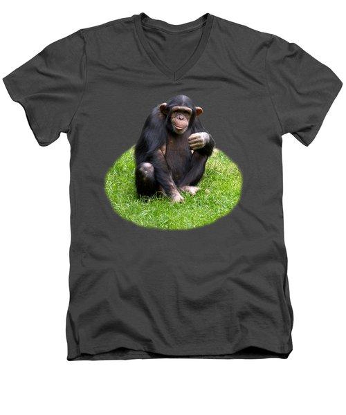 The Smiling Chimp Transparent Men's V-Neck T-Shirt