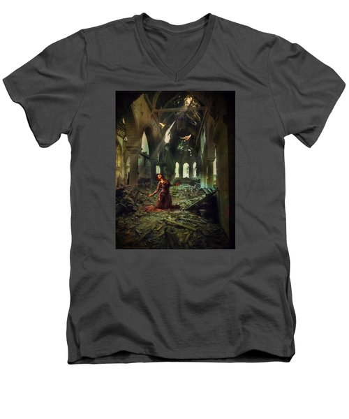 The Soul Cries Out Men's V-Neck T-Shirt by John Rivera