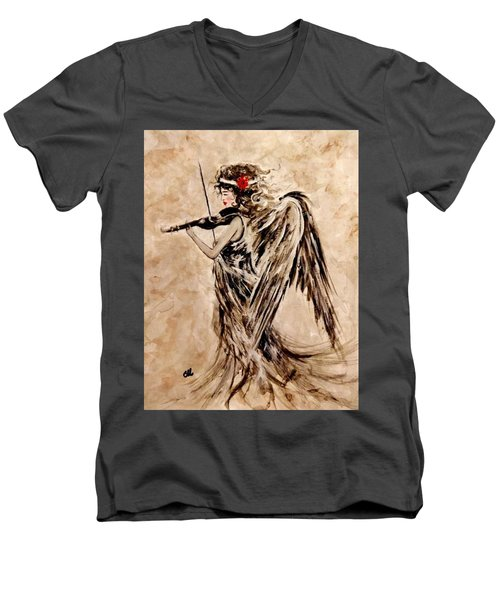 Men's V-Neck T-Shirt featuring the painting The Sound Of An Angel. by Cristina Mihailescu