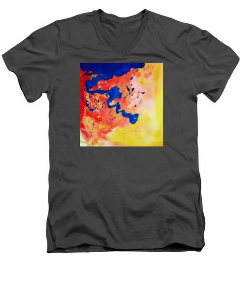 Men's V-Neck T-Shirt featuring the painting The Spill by Mary Kay Holladay