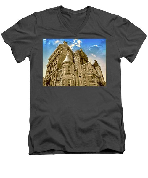 Men's V-Neck T-Shirt featuring the photograph The Stafford Hotel by Brian Wallace