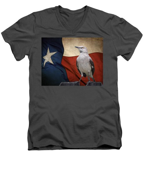 The State Bird Of Texas Men's V-Neck T-Shirt by David and Carol Kelly