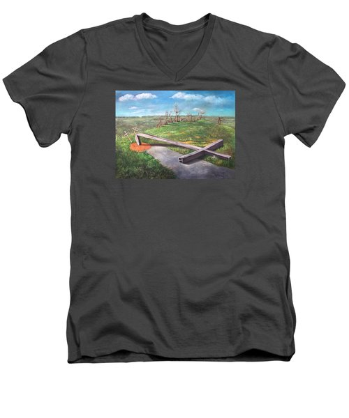 Men's V-Neck T-Shirt featuring the painting Millsfield Tennessee Steel Cross by Randol Burns