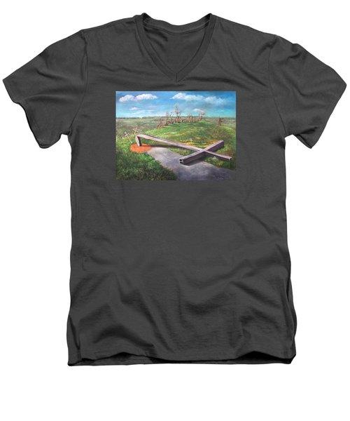 Millsfield Tennessee Steel Cross Men's V-Neck T-Shirt by Randy Burns