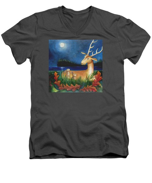 Men's V-Neck T-Shirt featuring the painting The Story Keeper by Terry Webb Harshman