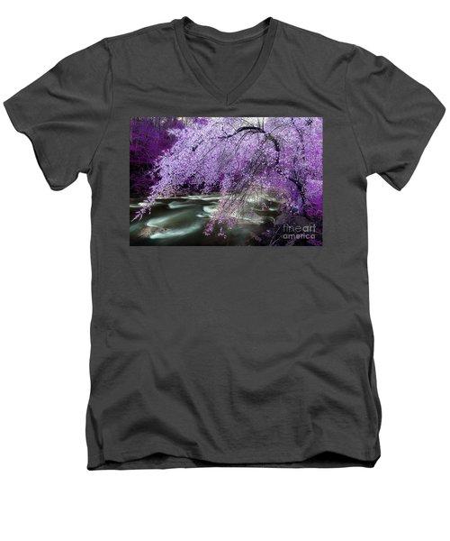 The Stream's Healing Rhythm Men's V-Neck T-Shirt by Michael Eingle