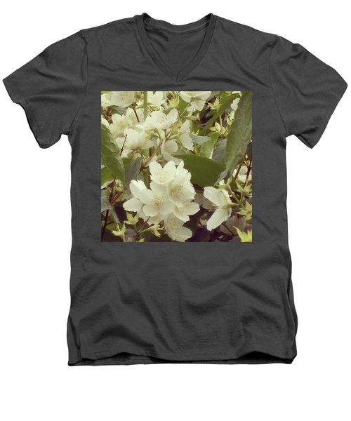 The Summer Smells Like A Mock Orange Men's V-Neck T-Shirt by Arletta Cwalina
