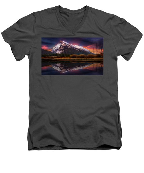 Men's V-Neck T-Shirt featuring the photograph The Sun Also Rises by John Poon