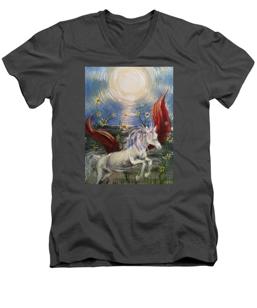 Men's V-Neck T-Shirt featuring the painting the Sun by Karen  Ferrand Carroll