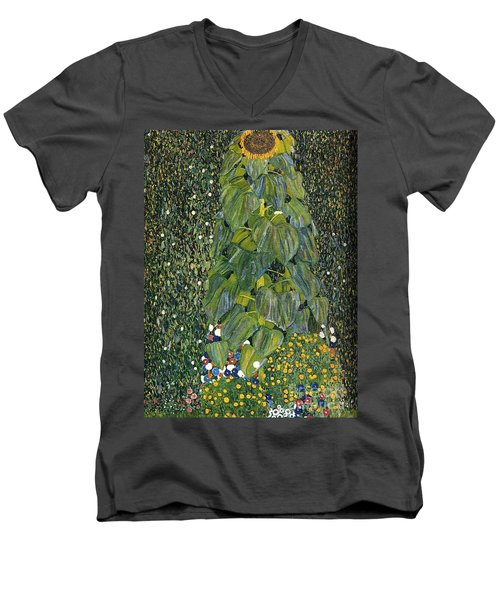 The Sunflower Men's V-Neck T-Shirt by Klimt