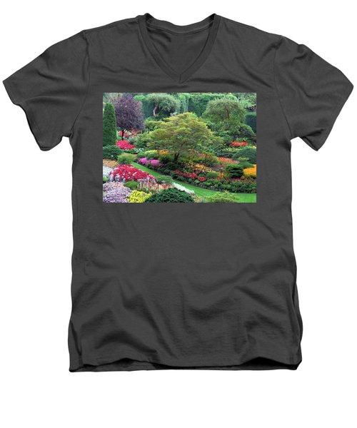 The Sunken Garden At Dusk Men's V-Neck T-Shirt by Betty Buller Whitehead