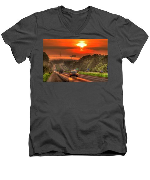 The Sunrise Commute Georgia Interstate 20 Art Men's V-Neck T-Shirt