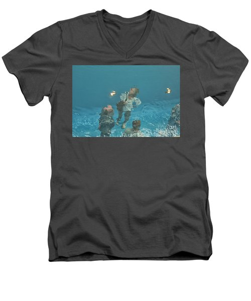 The Swimming Pool Men's V-Neck T-Shirt by Patricia Hofmeester