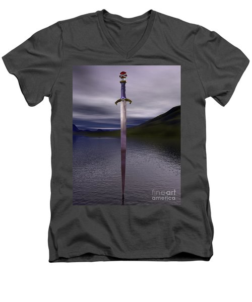 The Sword Excalibur On The Lake Men's V-Neck T-Shirt