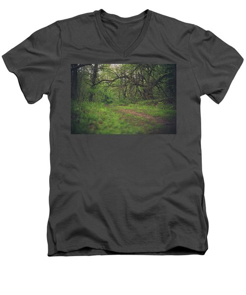 Men's V-Neck T-Shirt featuring the photograph The Taking Tree by Shane Holsclaw