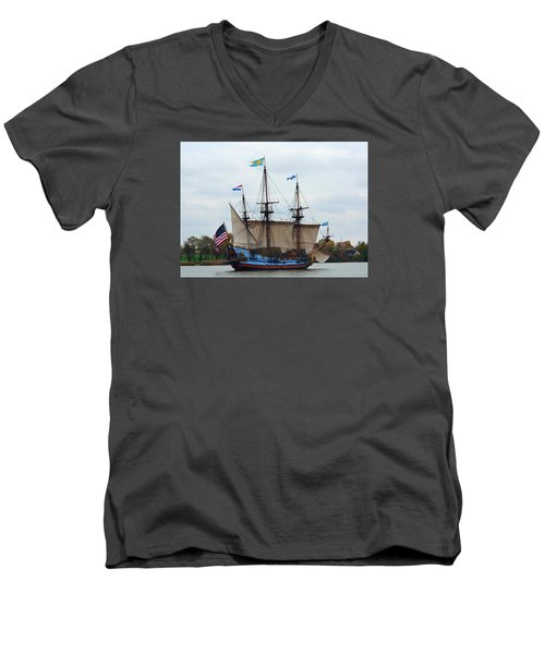 The Tall Ship Kalmar Nyckel Men's V-Neck T-Shirt by Richard Ortolano
