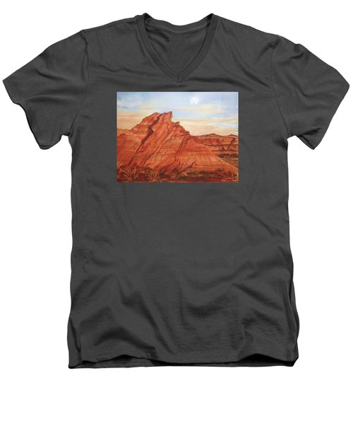 Men's V-Neck T-Shirt featuring the painting The Teepees by Ellen Levinson
