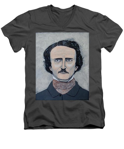 Men's V-Neck T-Shirt featuring the painting The Telltale Heart Of Edgar Allen Poe. by Ken Zabel