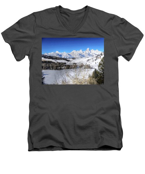 The Tetons From Gros Ventre Valley Men's V-Neck T-Shirt