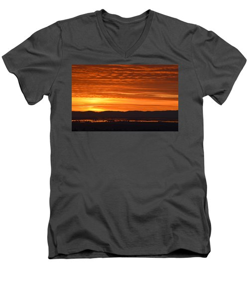 Men's V-Neck T-Shirt featuring the photograph The Textured Sky by AJ Schibig