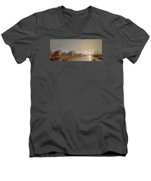 The Thames By Moonlight With Traitors' Gate And The Tower Of London Men's V-Neck T-Shirt by Henry Pether